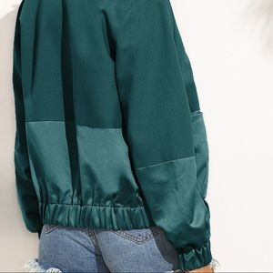 Boutique Jackets & Coats - 👑HP🏆🆕jewel tone satin contrast bomber jacket